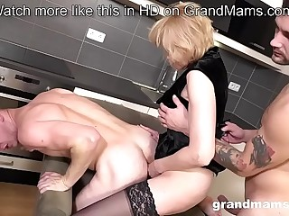 Granny Pegging young guy after huge-boobed dicks in threesome