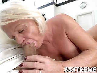 Kinky Anett has beaver pumped with young dick after BJ