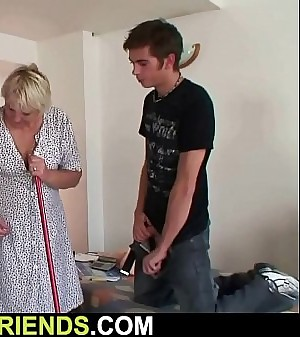 Very old granny swallows 2 young sensitized