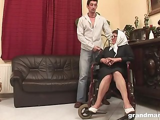 Old Grandma in wheelchair gets healed by hard youthful dick