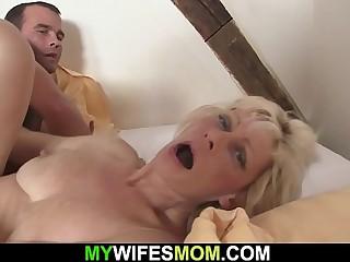 Blonde motherinlaw seduces him into cheating sex
