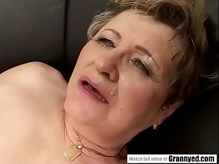 65yo Mommy got finger-tickled and drilled firm