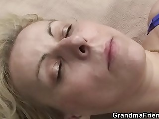 Hot threesome with blonde granny outdoors
