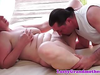 Chubby redhead granny nailed outdoors