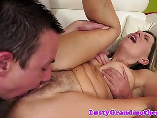 Hairy granny pussylicked and fucked deeply