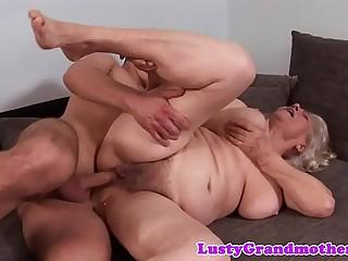 Busty unexperienced grandma spoon fucked deeply