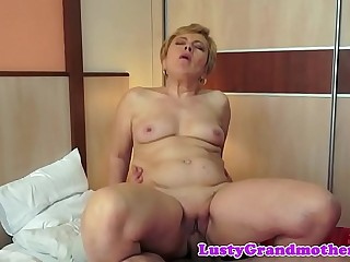 Chubby grandma gets jizzed on after fucking