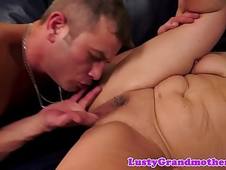 Buxomy granny orally pleasured and drilled