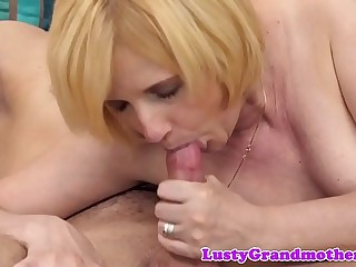 Chubby grandma screwed after blowing cock