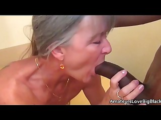Grey haired granny loves thick black cock
