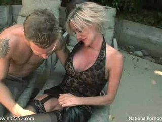 Hot Blonde Granny Cougar Does Pool Boy