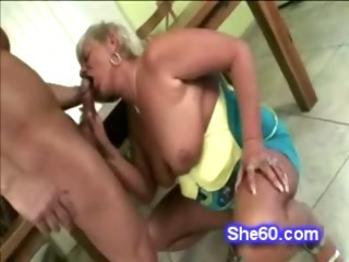 Frolic 60 yr old granny tempts her hunky youthful plumber