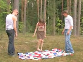 Amateur european threesome in the woods