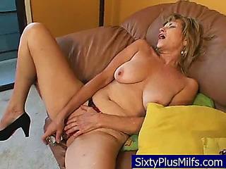 Granny stripping and masturbating