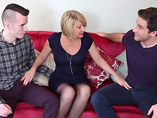 Hawt british mommy cum overspread by youthfull sons