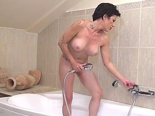 Aged perverted mother stefania taking baths