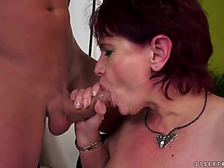 Bewitching granny in stocking giving out oralsex previous to yelling during the time that being bitchy hardcore