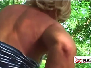 Breasty playgirl receives gangbanged outdoors