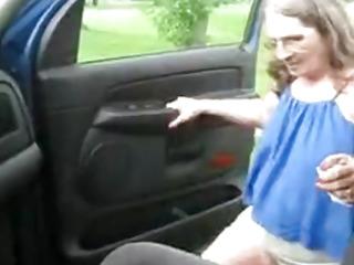 Old Redneck Granny Road Slut Gives a Blowjob