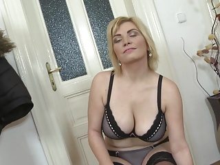 Aged large titty mother with hungry wet crack