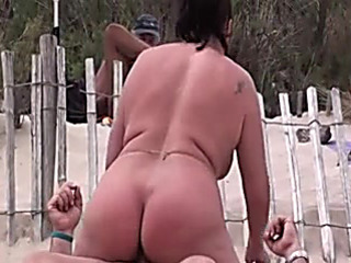 French older pair boldly has sex at the beach