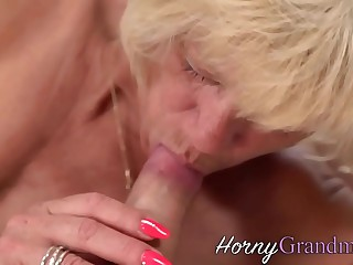 Grandma gets fingered and railed