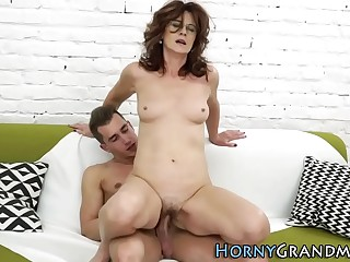 Old grandma takes creamy cumshot