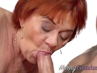 Slutty grandma sucks and rides