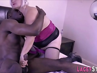 Huge-boobed grandmother in boots gets banged