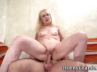 Blonde grandmother rides shaft and munches