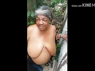 Litter granny get cumshot on busty titties