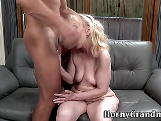 Granny with saggy hooters gets fucked