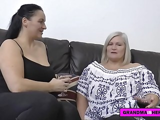 grandma and her big-titted friend have rough sex