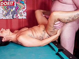LETSDOEIT  Mature German Granny Fucked Hard On The Pool Table
