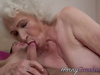 Hairy granny jizz faced