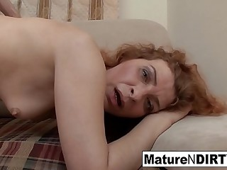 Redheaded mature gets fucked &amp_ rewarded with a facial cumshot
