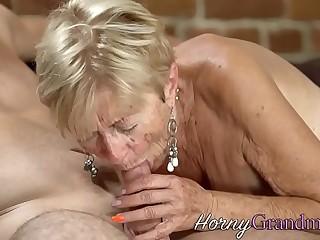 Granny gets face spermed
