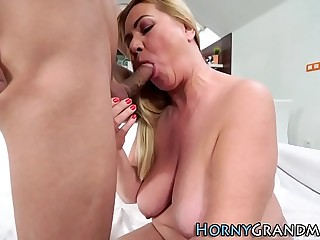 Busty granny rails cock
