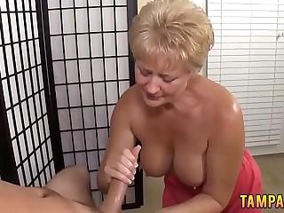 Blonde Granny Gives Brilliant Handjob for Cumshot