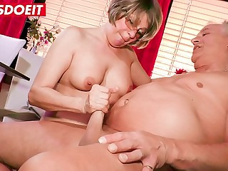 LETSDOEIT  Horny German Granny Literally Fucks The Dude Next Door
