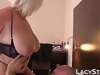 Plumper Lacey Starr sucking cock off waiter and fucking cowgirl