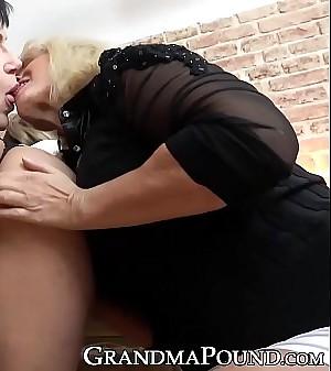 Business grannies double team coworkers juicy vagina