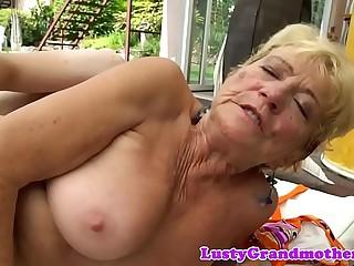 Saggy european grandma doggystyled outdoors