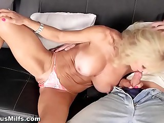 Blonde granny with fat boobs fucked hard